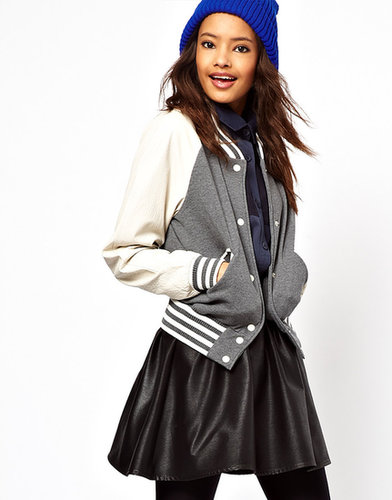 ASOS Varsity Sweat Jacket With Leather Sleeves