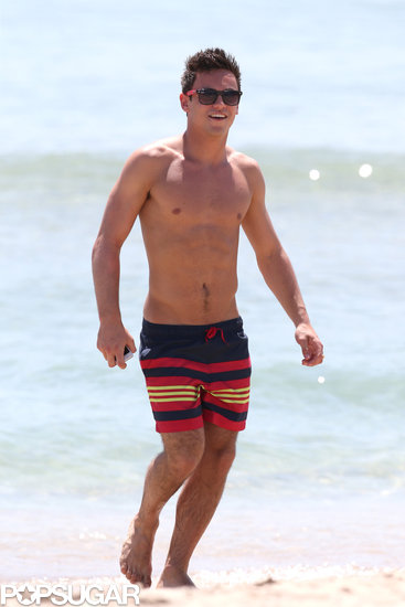 Olympic diver Tom Daley flashed a smile during a May beach trip in Fort Lauderdale, FL.