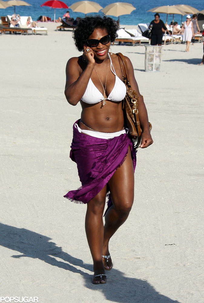 Serena Williams chatted on her phone during an October 2008 beach visit to Miami.