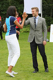 In July 2012, First Lady Michelle Obama high-fived David Beckham during a Let's Move London event.