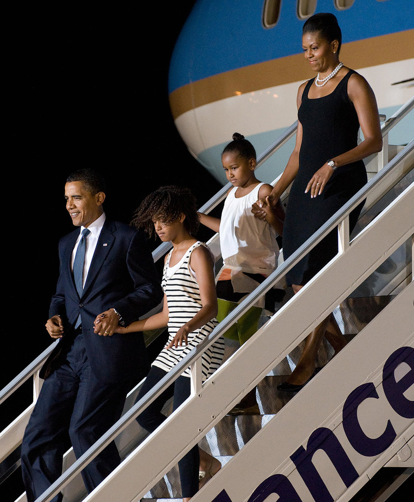 The Obama family arrived in Accra, Ghana, in July 2009 for a quick 24-hour visit.