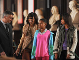 First Lady Michelle Obama toured the Old Library Building at Dublin's Trinity College with Sasha and Malia in June.