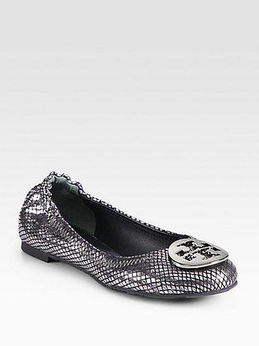 Tory Burch Reva Snake-Print Mirror Leather Ballet Flats