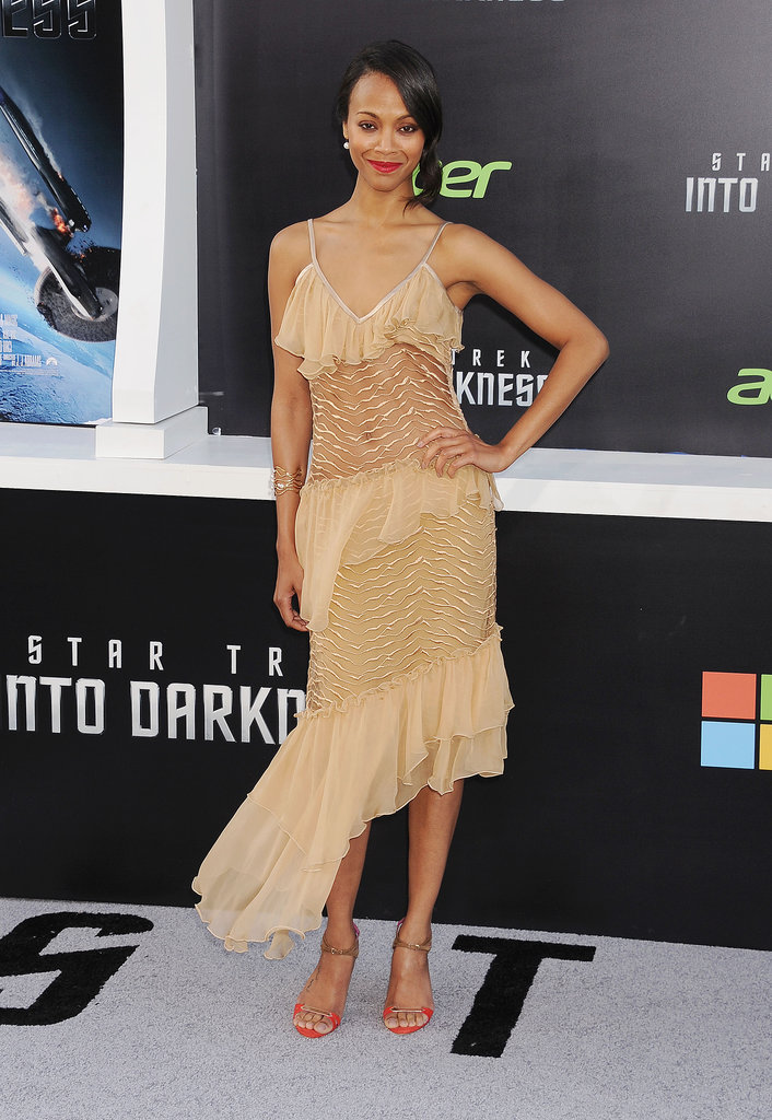 Zoe Saldana wowed in Rodarte while promoting Star Trek Into Darkness in Hollywood May 2013.