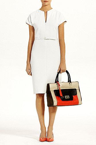 Maizah Twill Jersey  Dress In White