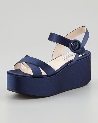 Prada Satin Crisscross Wedge Sandal, Blue