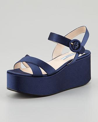 Prada Satin Crisscross Wedge Sandal, Blue