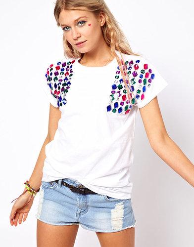 ASOS T-Shirt with Jewel Shoulder
