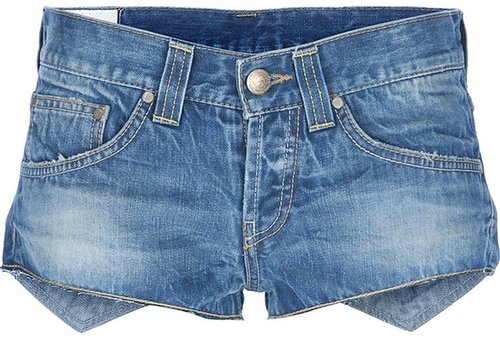 Dondup asymmetric micro denim shorts