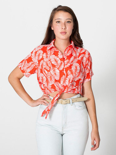 Printed Polyester Mid-Length Tie-Up Blouse