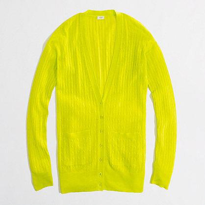 Factory linen-cotton cable-knit cardigan