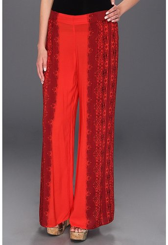 Free People - Printed Wide Leg Pant (Red Combo) - Apparel
