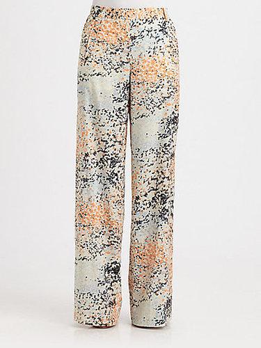 BCBGMAXAZRIA Floral Print Wide-Leg Pants