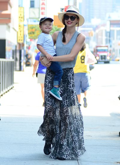 Miranda Kerr didn't let mommy duty stop her from looking wild in a leopard-print maxi skirt in NYC.
