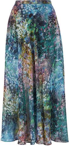Tall Blurry Floral Maxi Skirt