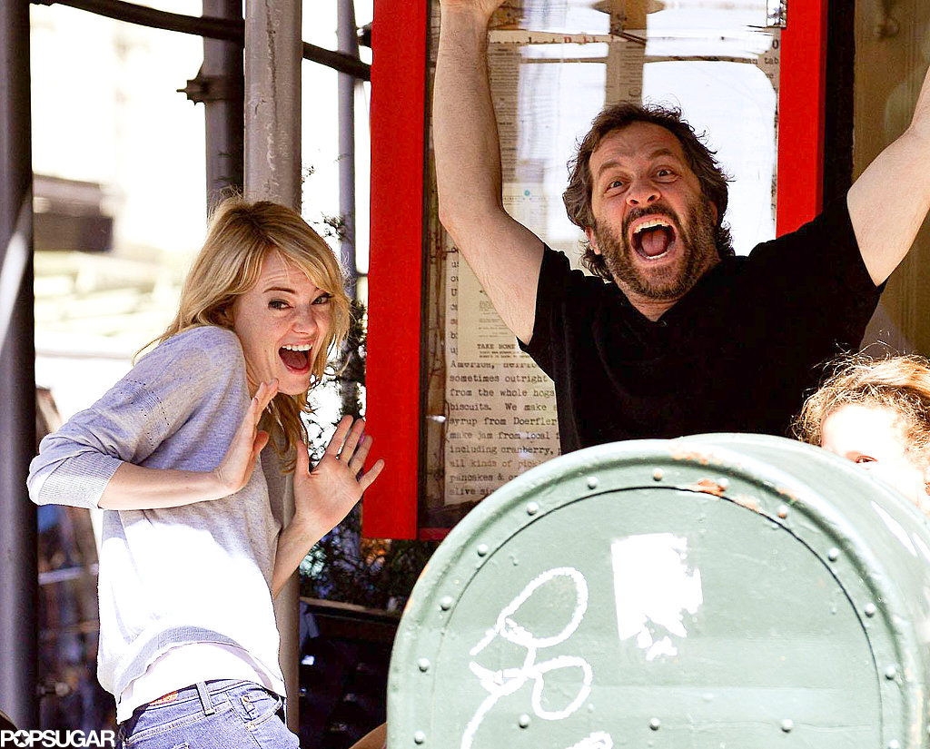 Emma Stone and Judd Apatow had a laugh in NYC.