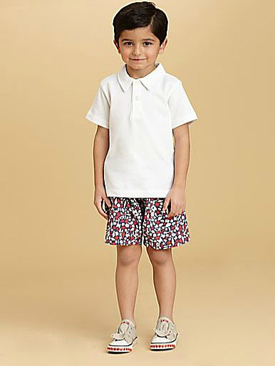 For Toddlers and Little Boys: Oscar de la Renta Seashore Print Swim Trunks