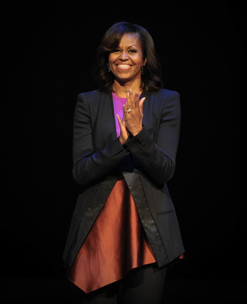 Then it was down to even more business inside the G8 summit in Dublin, where Michelle donned a bold two-toned dress with a black tuxedo-style coat.
