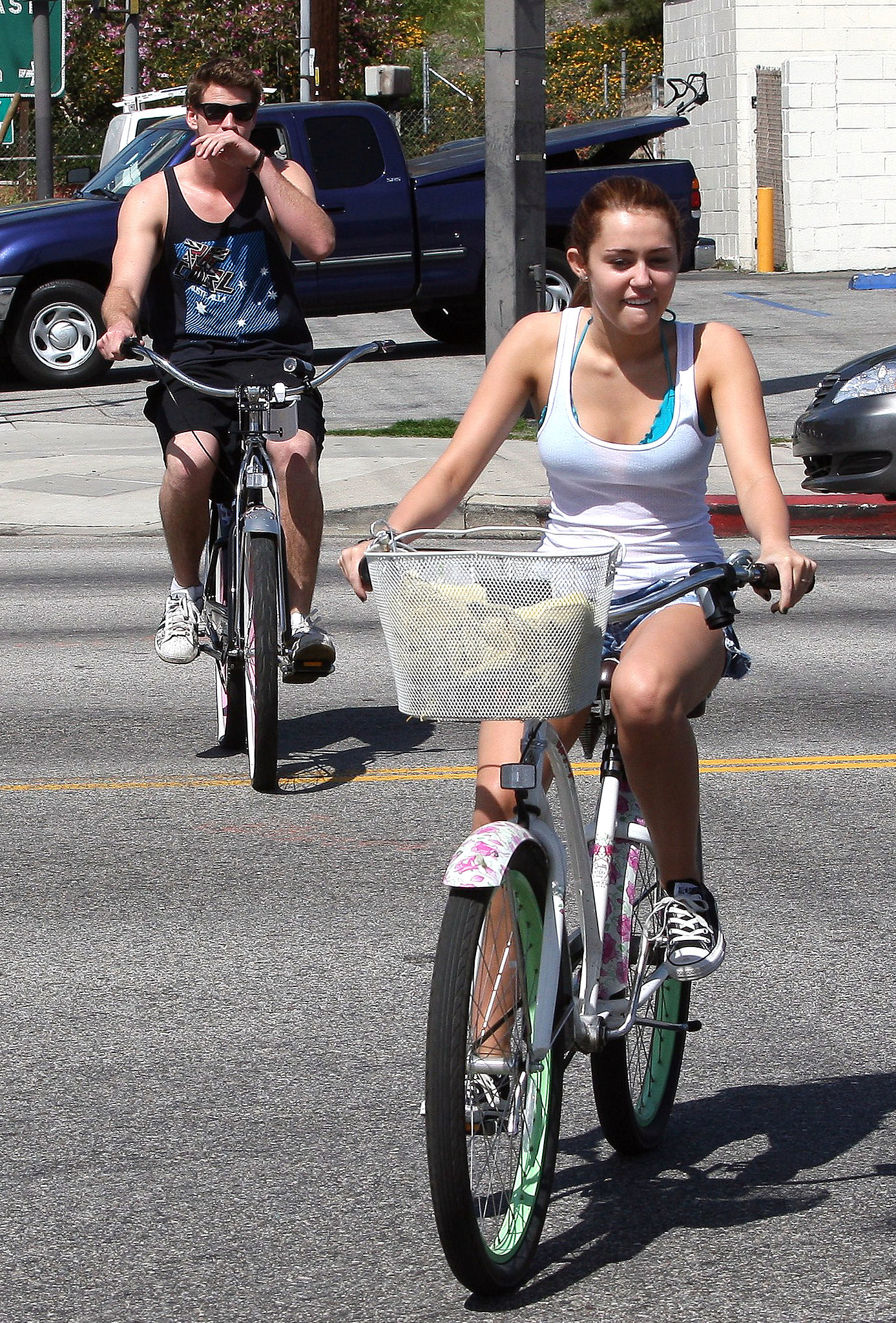 Miley Cyrus and Liam Hemsworth were biking buddies in March 2010 when they rode around Toluca Lake, CA.