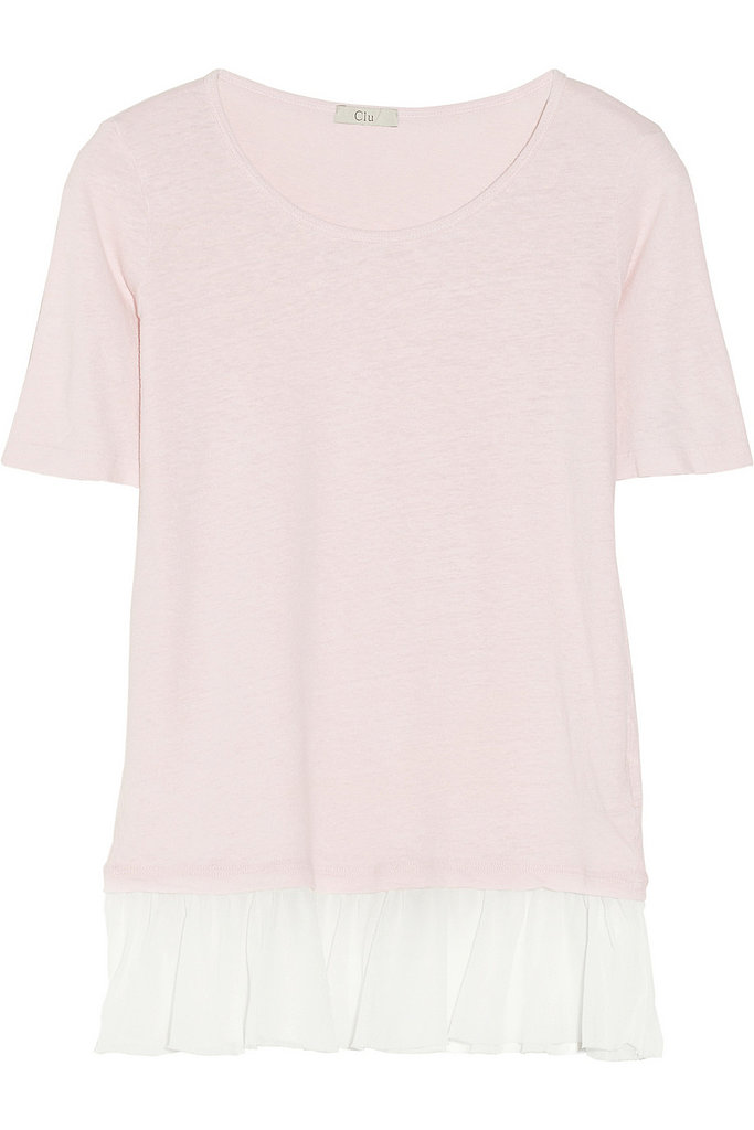 Convinced t-shirts aren't girlie enough for you? Then you haven't met Clu's pink-and-white pick ($165), trimmed with a silk-chiffon ruffle.