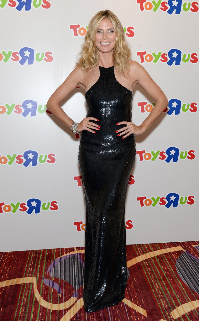 "Heidi Klum was svelte and shiny in a black sequined gown at the 2013 Toys ""R"" Us Children's Fund Gala in NYC."