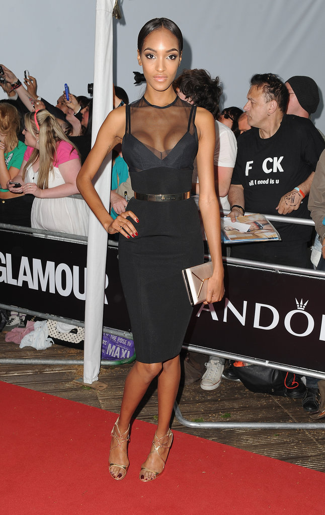 Jourdan Dunn dared to show off her cleavage in a sheer little black dress at the Glamour Women of the Year Awards.