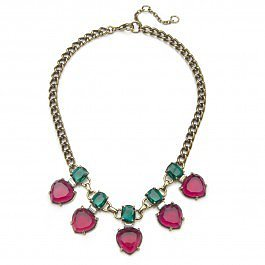 Gerard Yosca Pink & Green 5 Drop Statement Necklace