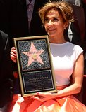 Jennifer Lopez posed with her award on the Walk of Fame in Hollywood.