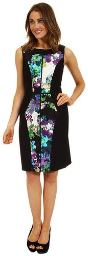 Ellen Tracy - Sleeveless Mixed Media Floral Print Dress (Blue Multi) - Apparel