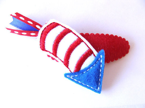 Top off her Fourth of July ensemble with the sweetest felt rocket clip ($4) from Etsy's Graceful by Anna.