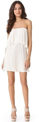 Tbags los angeles Tiered Strapless Crochet Dress