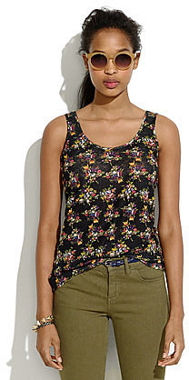 Linen tank in mountain floral