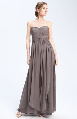 Long Strapless Chiffon Evening Dress