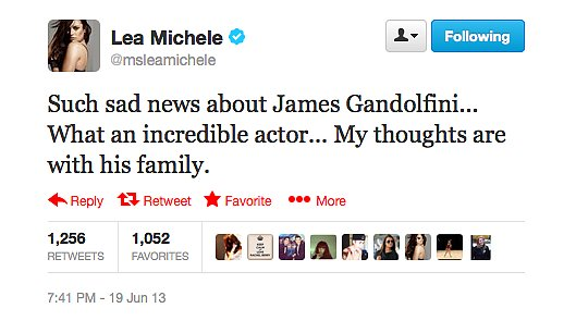 Lea Michele remembered James Gandolfini's incredible skill in her Twitter tribute.