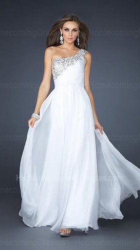 Sexy Long One Shoulder White Homecoming Dress with Beaded Strap Cheap