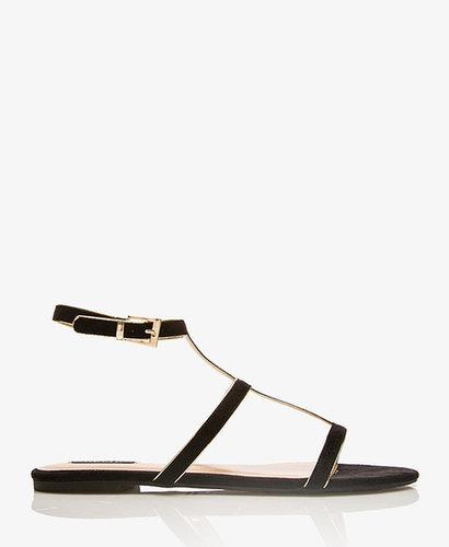 FOREVER 21 Metallic-Trimmed Gladiator Sandals