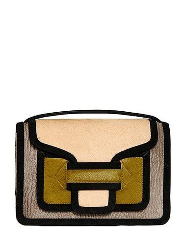 Color Blocked Ponyskin Shoulder Bag