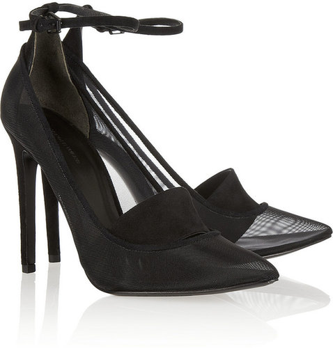 Alexander Wang Sabine suede and mesh pumps