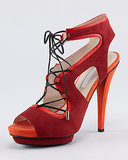 Make a sexy sandal absolutely fiery in red and orange. We love the bold color pairing of Burak Uyan's platform option ($447, originally $995).