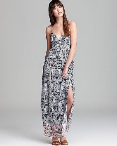 Aqua Maxi Dress - Tribal Print Ombre Cami