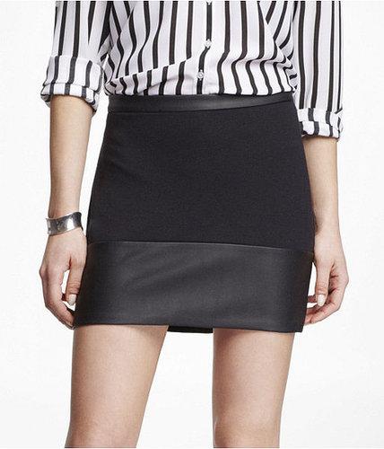 (Minus The) Leather Trim Ponte Knit Mini Skirt