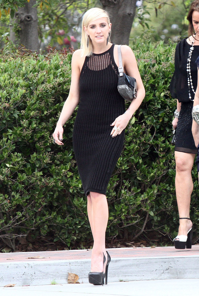 Ashlee Simpson's sexy black crochet dress was surely a hit at a Pacific Palisades ceremony in LA in April. Follow suit, and don an LBD with black add-ons for an undeniably chic look.