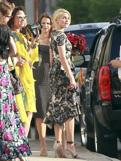 Cameron Diaz also sported a printed dress at Lake Bell's nuptials. Hers featured a black and white print, a peplum, and an asymmetrical hemline. For your next wedding, find a similar dress with lots of fancy details — the more, the merrier.