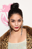 To dress up a topknot like Vanessa Hudgens, just add red lipstick and cat eyeliner.