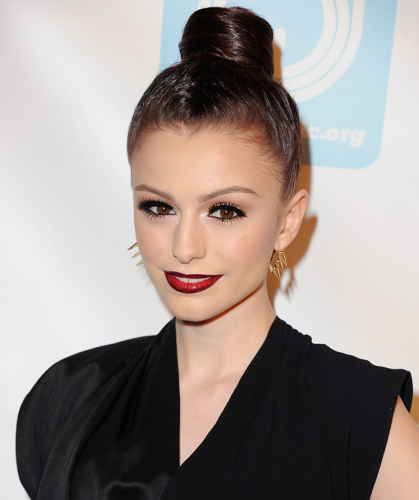 This high bun, as spotted on Cher Lloyd, has a cylindrical shape that's quite unique.
