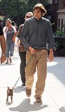 Ashton Kutcher took a tiny pup for a stroll on set in NYC in August 2007.