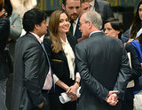 Angelina Jolie met with UN diplomats in NYC.