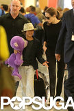 Angelina Jolie was also seen at JFK Airport with her son Pax.