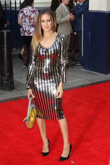 Sarah Jessica Parker wore a tight, shimmery Marc Jacobs dress to the event on Tuesday night in London.