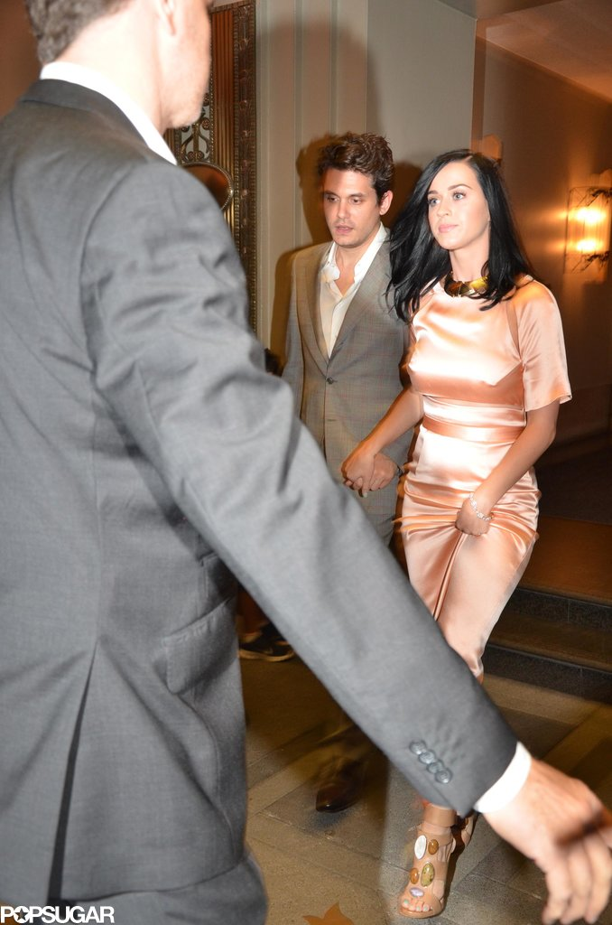 Katy Perry wore a Sally LaPointe dress while leaving an event with John Mayer.